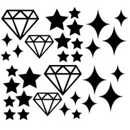 Stars and diamonds cut file includes diamond, star and sparkle shapes.