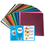 """Craftables Ultra Glitter Adhesive Vinyl Complete Pack - (22) 12"""" x 12"""" Sheets"""