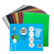 """Craftables Smooth and Glitter Starter Heat Transfer Vinyl Pack- (16) 9.8"""" x 12"""" Sheets"""