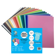 "Craftables Assorted Smooth Heat Transfer Vinyl Pack - (20) 9.8"" x 12"" Sheets"
