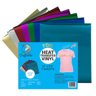 "Craftables Starter Pack Foil Heat Transfer Vinyl For Crafts. Each Sheet 9.8"" X 12"" - 7 Sheets"