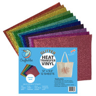 Craftables Glitter Heat Transfer Vinyl 12 Sheet Starter Pack