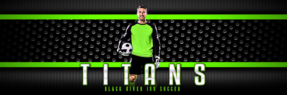 Panoramic Team Banner Photoshop Sports Template - Bold