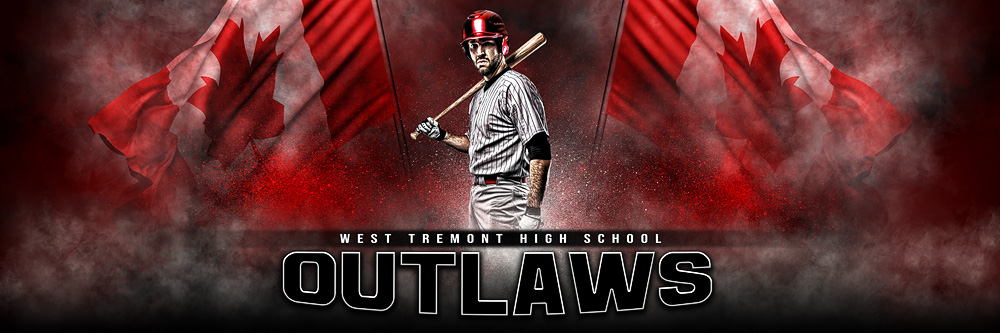 Panoramic Team Banner Photoshop Sports Template - Canadian Pride