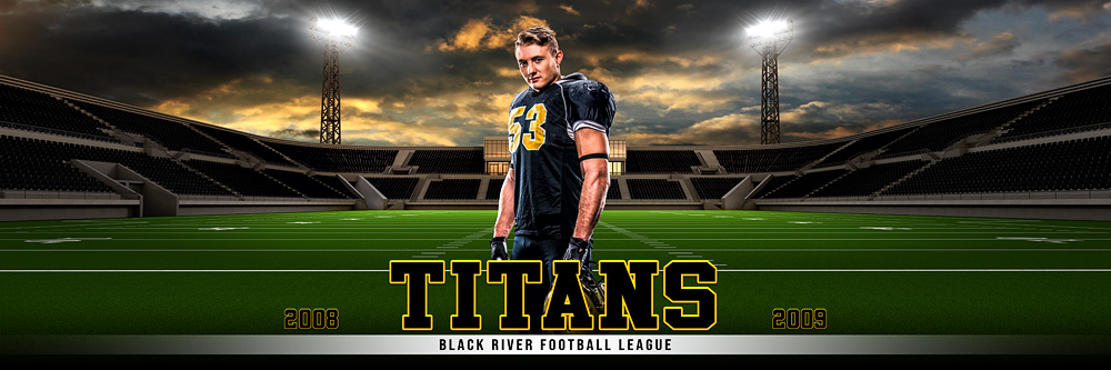 Panoramic Team Banner Photoshop Sports Template - Home Field - Football