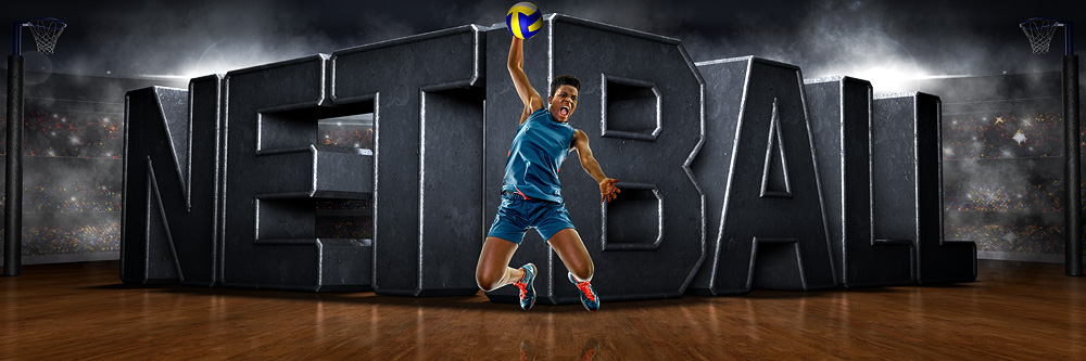 Panoramic Team Banner Photo Template For Netball - Photoshop Layered Sports Template
