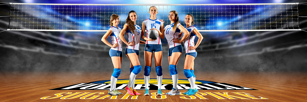 Panoramic Team Banner Photoshop Sports Template - Volleyball Court Logo