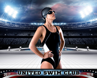 SPORTS POSTER PHOTO TEMPLATE - AMERICAN SWIM - PHOTOSHOP SPORTS TEMPLATE