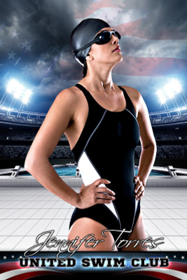 PLAYER BANNER PHOTO TEMPLATE - AMERICAN SWIM - PHOTOSHOP SPORTS TEMPLATE