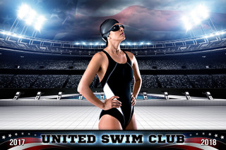 PLAYER & TEAM BANNER PHOTO TEMPLATE - AMERICAN SWIM - PHOTOSHOP SPORTS TEMPLATE