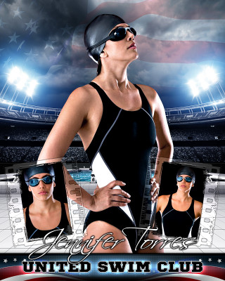 AMERICAN SWIM 16x20 PHOTO COLLAGE - LAYERED PHOTOSHOP SPORTS TEMPLATE