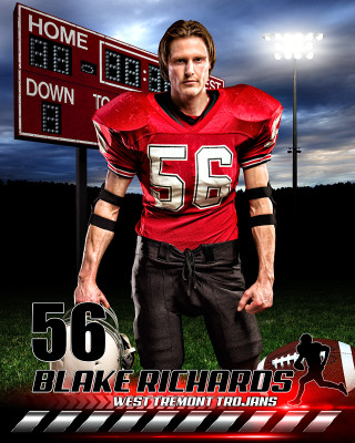 SPORTS POSTER PHOTO TEMPLATE - HOMETOWN FOOTBALL - PHOTOSHOP SPORTS TEMPLATE