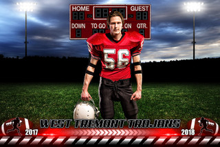 PLAYER & TEAM BANNER PHOTO TEMPLATE - HOMETOWN FOOTBALL - PHOTOSHOP SPORTS TEMPLATE