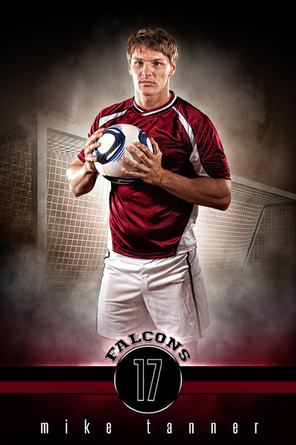 Player banner sports photo template fantasy soccer for Sports team photography templates