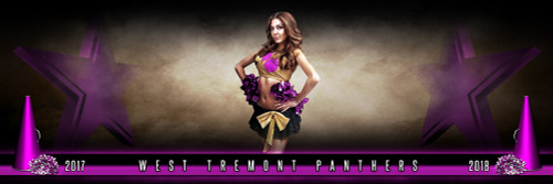 PANORAMIC SPORTS BANNER TEMPLATE - FANTASY CHEERLEADING - LAYERED PHOTOSHOP SPORTS TEMPLATE