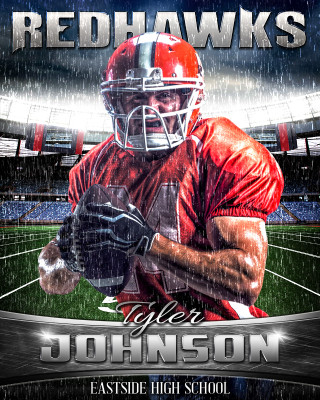 16x20 Football Photo Template - Rain Out Series