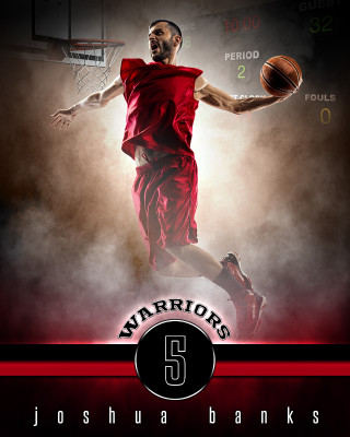 SPORTS POSTER TEMPLATE - FANTASY BASKETBALL- PHOTOSHOP SPORTS TEMPLATE