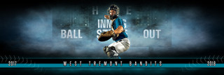 PANORAMIC SPORTS BANNER TEMPLATE - FANTASY BASEBALL - LAYERED PHOTOSHOP SPORTS TEMPLATE