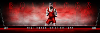 PANORAMIC SPORTS BANNER TEMPLATE - FANTASY WRESTLING - LAYERED PHOTOSHOP SPORTS TEMPLATE