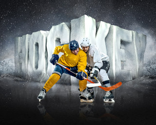 SPORTS POSTER TEMPLATE - SURREAL HOCKEY- PHOTOSHOP LAYERED SPORTS TEMPLATE