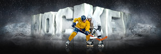 PANORAMIC SPORTS BANNER TEMPLATE - SURREAL HOCKEY - LAYERED PHOTOSHOP SPORTS TEMPLATE