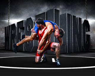 SPORTS POSTER TEMPLATE - SURREAL WRESTLING- PHOTOSHOP LAYERED SPORTS TEMPLATE