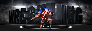 PANORAMIC SPORTS BANNER TEMPLATE - SURREAL WRESTLING - LAYERED PHOTOSHOP SPORTS TEMPLATE