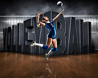 SPORTS POSTER TEMPLATE - SURREAL VOLLEYBALL- PHOTOSHOP LAYERED SPORTS TEMPLATE