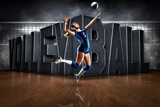 PLAYER & TEAM BANNER PHOTO TEMPLATE - HORIZONTAL - SURREAL VOLLEYBALL