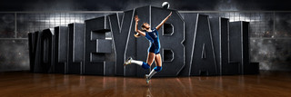 PANORAMIC SPORTS BANNER TEMPLATE - SURREAL VOLLEYBALL - LAYERED PHOTOSHOP SPORTS TEMPLATE