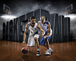 SPORTS POSTER TEMPLATE - SURREAL BASKETBALL - PHOTOSHOP LAYERED SPORTS TEMPLATE