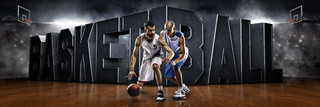PANORAMIC SPORTS BANNER TEMPLATE - SURREAL BASKETBALL - LAYERED PHOTOSHOP SPORTS TEMPLATE