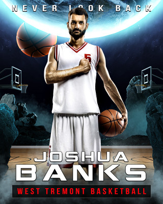 16X20 SPORTS PHOTO TEMPLATE - SPACE BASKETBALL - PHOTOSHOP LAYERED SPORTS TEMPLATE
