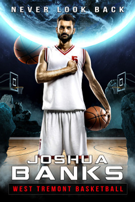 PLAYER BANNER PHOTO TEMPLATE - SPACE BASKETBALL - PHOTOSHOP LAYERED SPORTS TEMPLATE