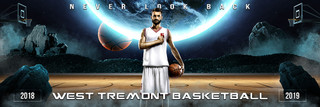PANORAMIC SPORTS BANNER TEMPLATE - SPACE BASKETBALL - LAYERED PHOTOSHOP SPORTS TEMPLATE
