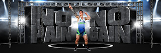 PANORAMIC SPORTS BANNER TEMPLATE - NO PAIN NO GAIN - LAYERED PHOTOSHOP SPORTS TEMPLATE