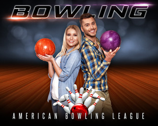 16X20 SPORTS PHOTO TEMPLATE - BOWLING - PHOTOSHOP LAYERED SPORTS TEMPLATE