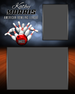 MEMORY MATE - VERTICAL - BOWLING - PHOTOSHOP LAYERED SPORTS TEMPLATE