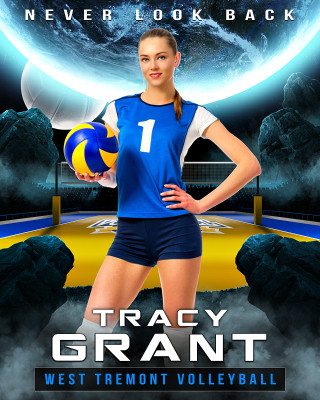 16X20 SPORTS PHOTO TEMPLATE - SPACE VOLLEYBALL - PHOTOSHOP LAYERED SPORTS TEMPLATE