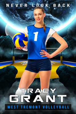PLAYER BANNER PHOTO TEMPLATE - SPACE VOLLEYBALL - PHOTOSHOP LAYERED SPORTS TEMPLATE
