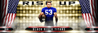 PANORAMIC SPORTS BANNER TEMPLATE - RISE UP - PHOTOSHOP LAYERED SPORTS TEMPLATE