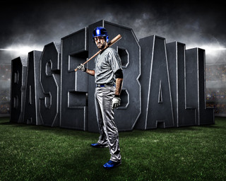 SPORTS POSTER TEMPLATE - SURREAL BASEBALL - PHOTOSHOP LAYERED SPORTS TEMPLATE