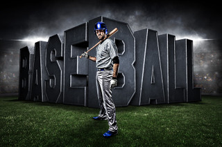PLAYER & TEAM BANNER PHOTO TEMPLATE - HORIZONTAL - SURREAL BASEBALL