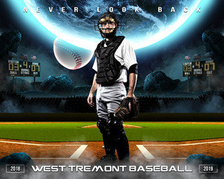 16X20 SPORTS PHOTO TEMPLATE - SPACE BASEBALL - PHOTOSHOP LAYERED SPORTS TEMPLATE