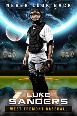 PLAYER BANNER PHOTO TEMPLATE - SPACE BASEBALL - PHOTOSHOP LAYERED SPORTS TEMPLATE