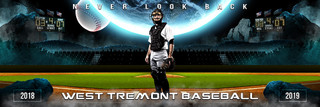 PANORAMIC SPORTS BANNER TEMPLATE - SPACE BASEBALL - LAYERED PHOTOSHOP SPORTS TEMPLATE