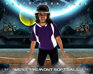 16X20 SPORTS PHOTO TEMPLATE - SPACE SOFTBALL - PHOTOSHOP LAYERED SPORTS TEMPLATE