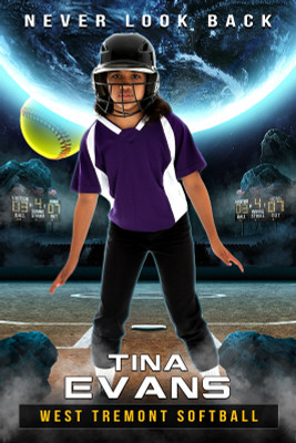 PLAYER BANNER PHOTO TEMPLATE - SPACE SOFTBALL - PHOTOSHOP LAYERED SPORTS TEMPLATE