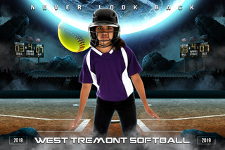 PLAYER & TEAM BANNER PHOTO TEMPLATE - SPACE SOFTBALL - PHOTOSHOP LAYERED SPORTS TEMPLATE
