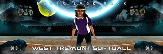 PANORAMIC SPORTS BANNER TEMPLATE - SPACE SOFTBALL - LAYERED PHOTOSHOP SPORTS TEMPLATE